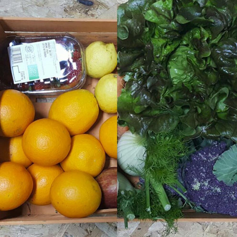 Cesto di frutta e verdura fresca