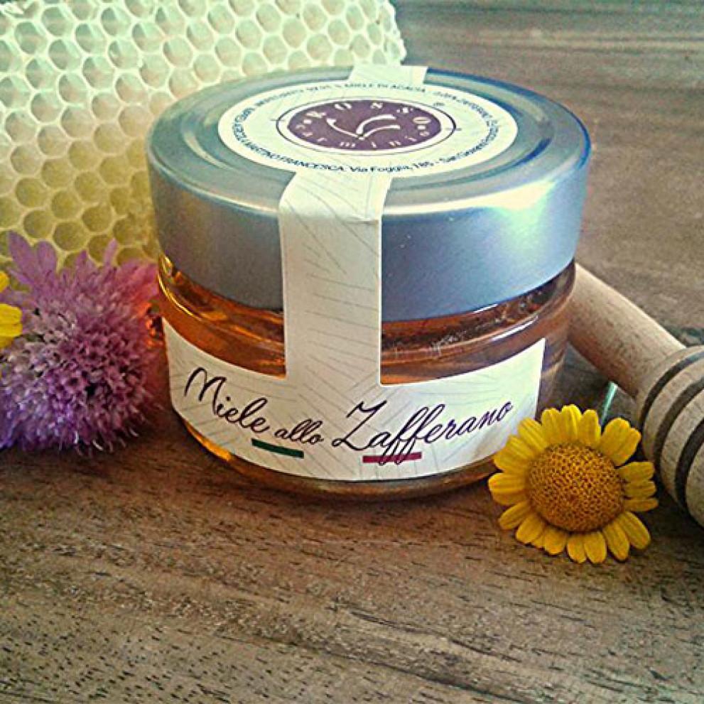 Miele d'acacia aromatizzato allo zafferano