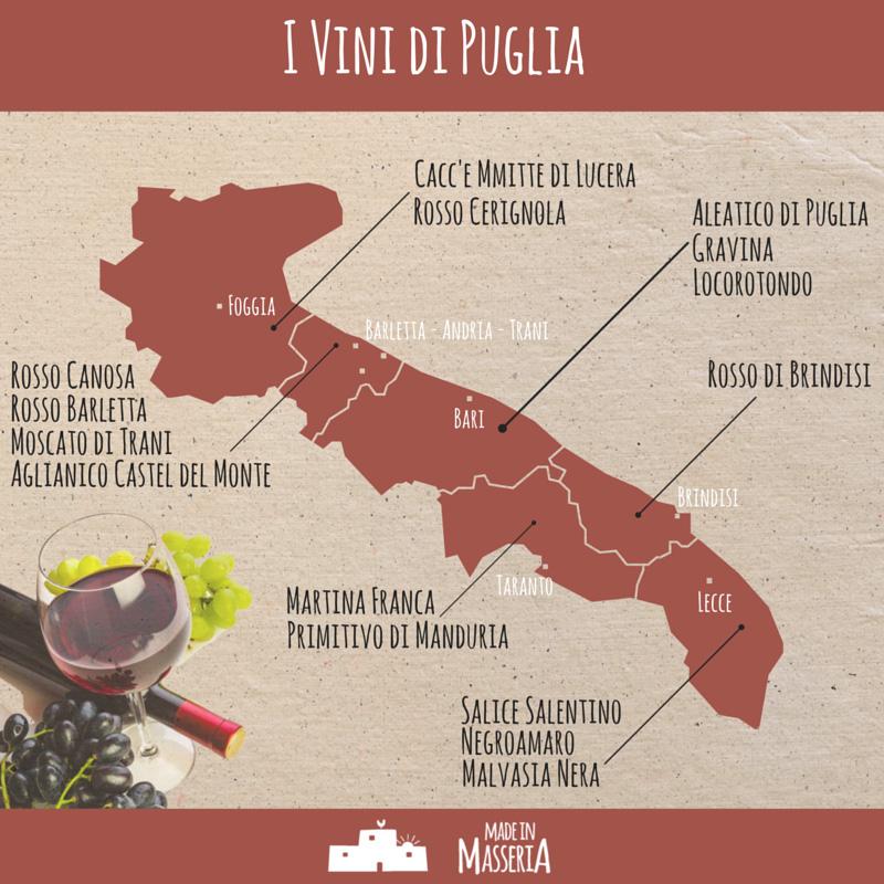 Cartina Vini Puglia.La Mappa Dei Vini Pugliesi Made In Masseria